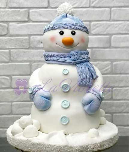 Новогодний торт снеговик №841