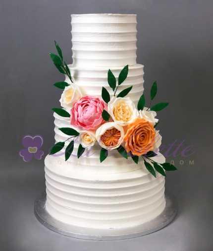 Торт Классика с цветами №872