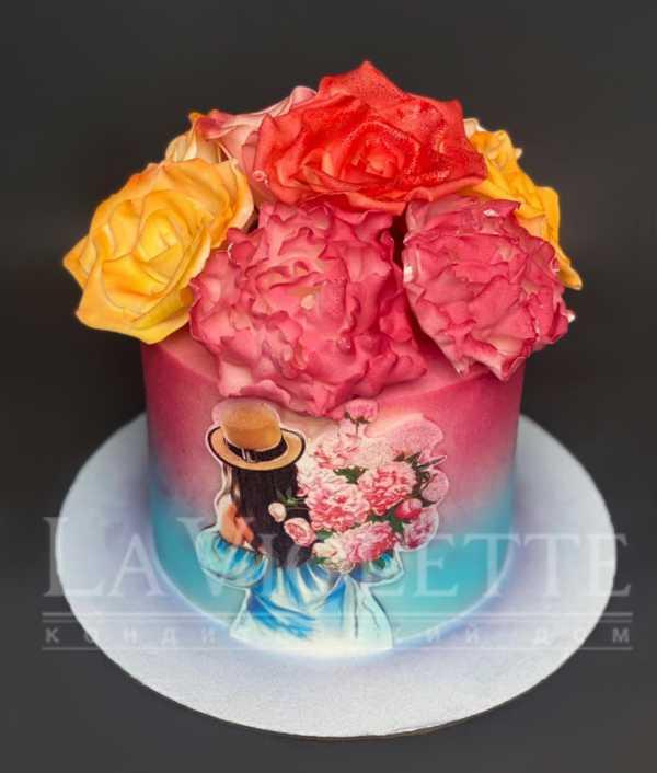 Торт с пионами №1236