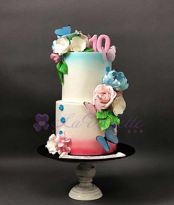 Торт с цветами №150