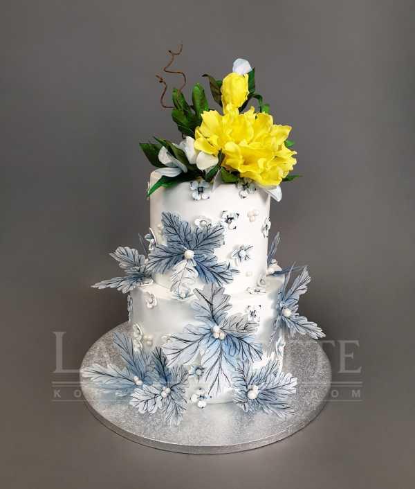 Свадебный торт с цветами №1088