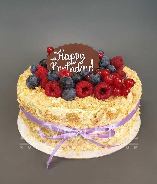 Торт Наполеон с ягодами №1096