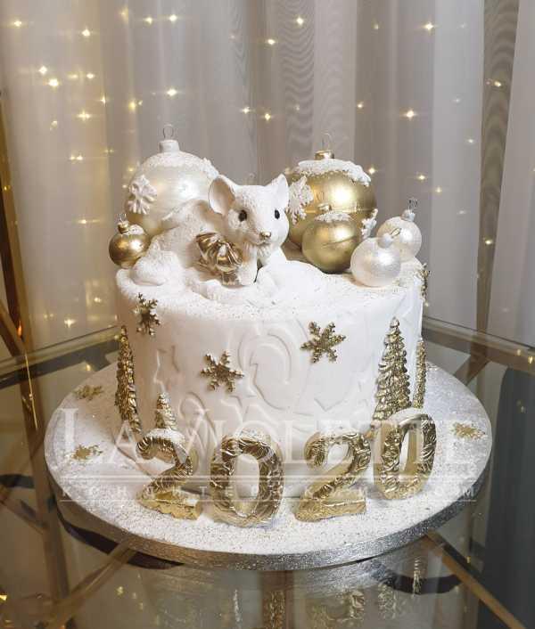 Новогодний торт с мышкой №1113