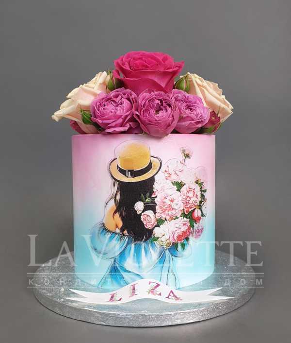 Торт с девушкой и цветами №1117