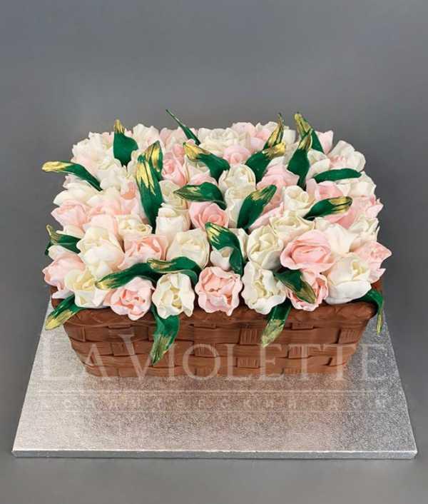 Торт Корзина с цветами №1132