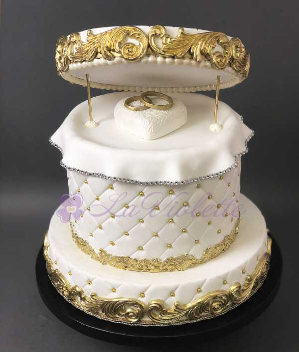 Торт с кольцами на обручение №149