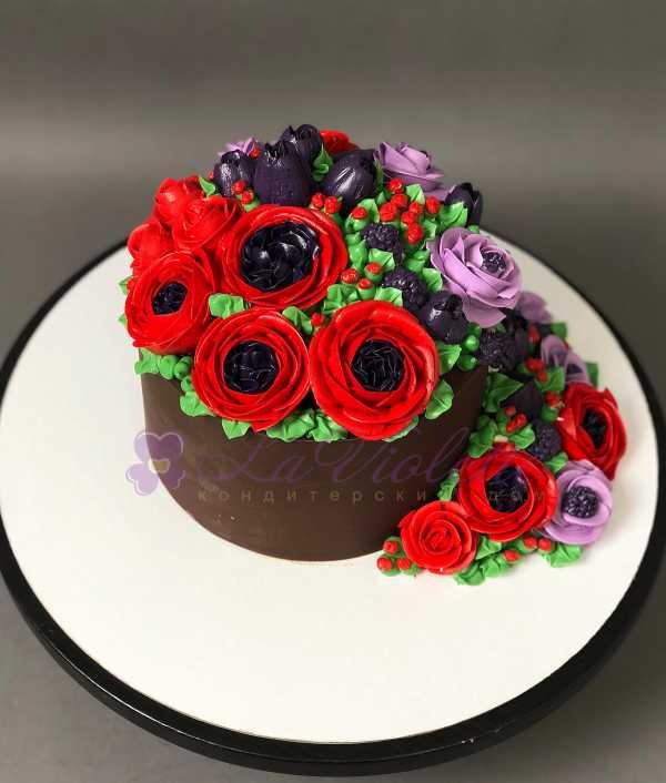 Торт с цветами №113
