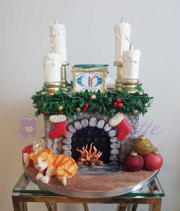 Торт Рождественский камин №866