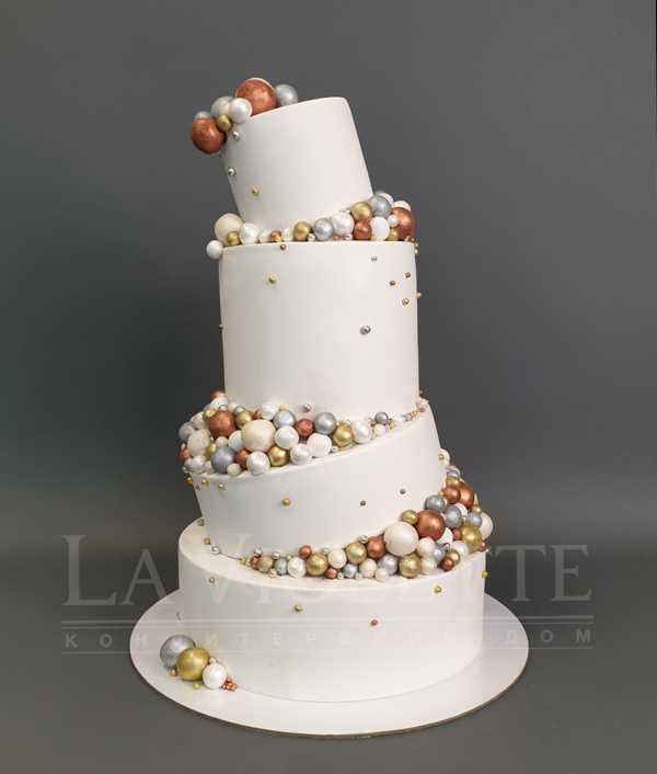 Торт свадебный с шарами №950