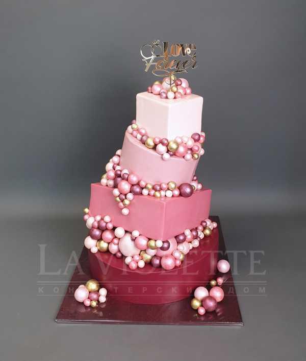 Свадебный торт с шарами №991