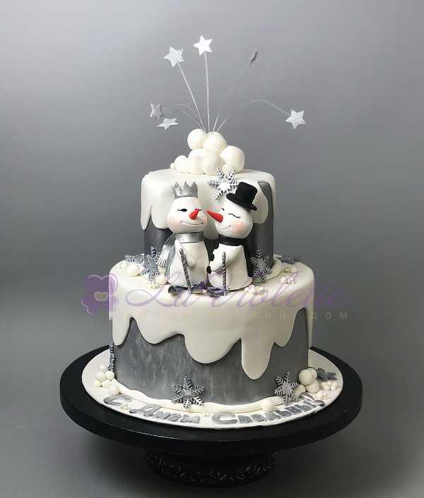 Торт со снеговиками №573